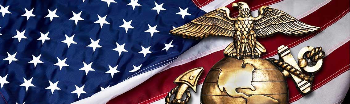 Marine Corps emblem on flag
